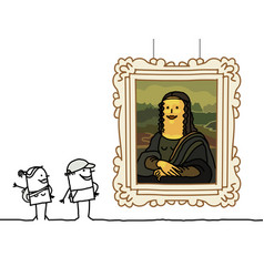 Cartoon couple watching a famous painting vector