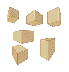 cartoon cubes and parallelepipeds vector image