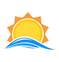 Cartoon sun over sea waves vector
