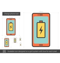 Charge phone line icon vector