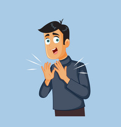 cheerful man applauding cartoon vector image