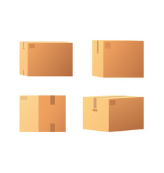 Closed parcel icons from side back and front view vector