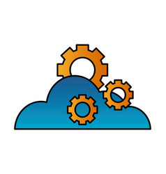 cloud computing gears technology vector image