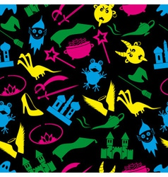 Color fairy tales icons theme seamless pattern vector