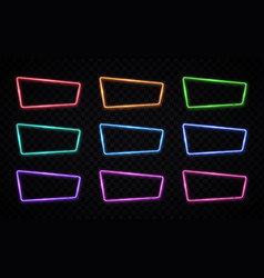 color neon frames set on transparent background vector image