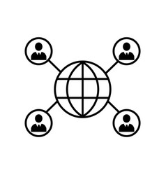 connected persons around the earth icon icon vector image