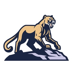 cougar mascot standing on the rock vector image
