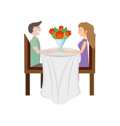 couple love sitting elegant table image vector image