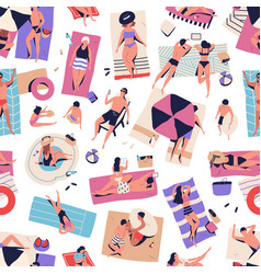 crowd relaxed people chilling on beach seamless vector image