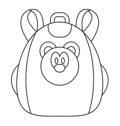 Cute bear backpack icon outline style vector