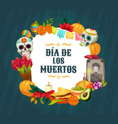 Day dead altar with mexican sugar skulls vector