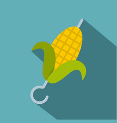 Delicious grilled corn in skewer icon flat style vector