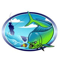 Design mahi mahi fishing vector