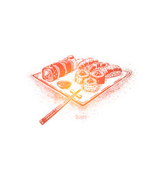 eastern lunch seafood restaurant menu sushi vector image