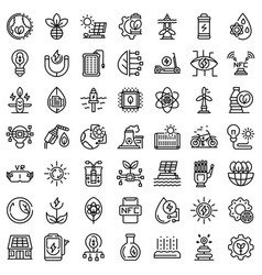 Eco innovation icons set outline style vector