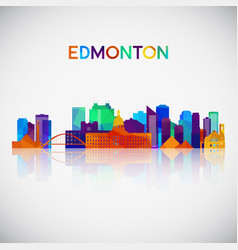 Edmonton skyline silhouette in colorful geometric vector