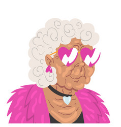 Fashion gray haired senior woman beautiful old vector