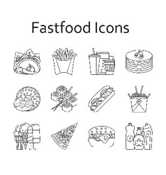 Fastfood and streetfood icons set vector