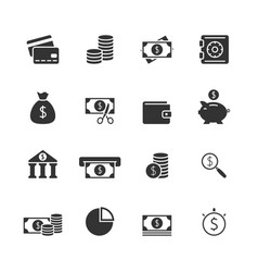 Finance blak icons set vector