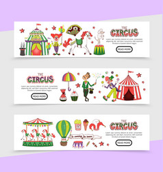 Flat circus horizontal banners vector