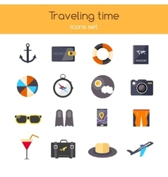 Flat design icons set of planning a summer vector