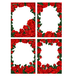 flower frame borders with red roses vector image