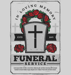 Funeral services poster with gravestone and wreath vector