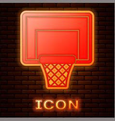 Glowing neon basketball backboard icon isolated on vector