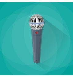 Grey metallic microphone vector
