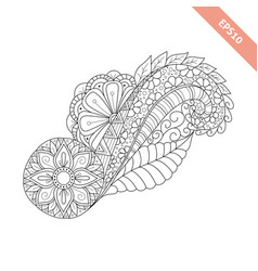 Hand drawn floral background doodle style vector