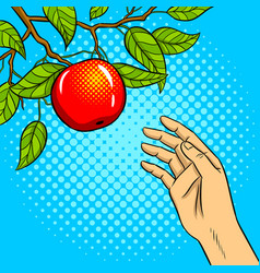 hand reaches for apple on tree pop art vector image