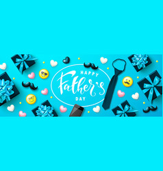 Happy fathers day banner with gift boxes yellow vector