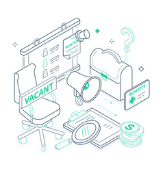Job search - isometric green and black line vector