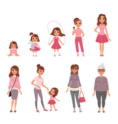 Life cycles of woman stages of growing up from vector