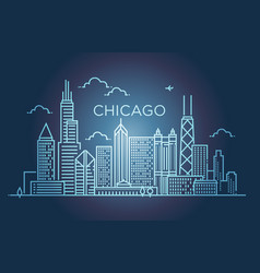 linear banner of chicago city line art vector image