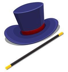 Magician hat and magic wand vector
