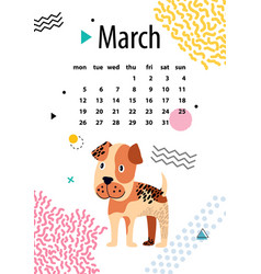 march calendar for 2018 year with boxer puppy vector image