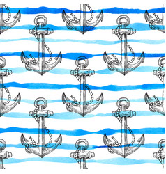 Marine seamless pattern with anchor vector