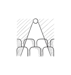 Movie theater with seats projector sketch icon vector image