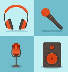 music concepts in flat style set icons vector image