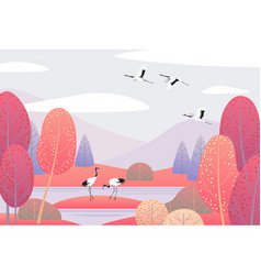 Nature scene with japanese cranes and autumn trees vector