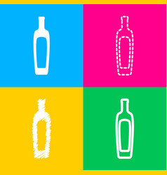 Olive oil bottle sign four styles of icon on four vector