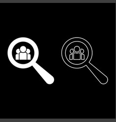 people search icon set white color flat style vector image
