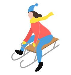 person sledding downhill alone in winter park vector image