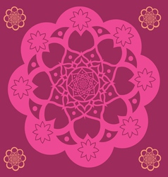 Pink floral mandala vector image