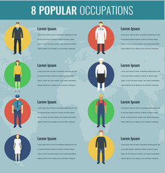 popular occupations in the world profession icons vector image