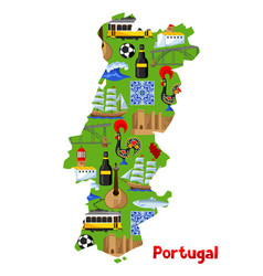 Portugal map portuguese national traditional vector
