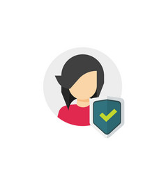 privacy icon flat cartoon shield checkmark vector image