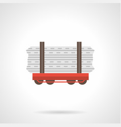 Rail flatcar flat color icon vector
