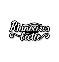 Rhinoceros beetle calligraphy template text for vector